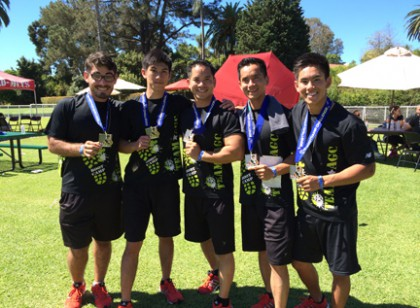 1st place winners from left to right 2 Brothers Construction 5-person team: Trevor Garcia, Dillion Cao, Eric Le, Mark Doan, and Dorian Cao