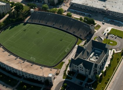 An aerial shot of Kansas State University's Memorial Stadium